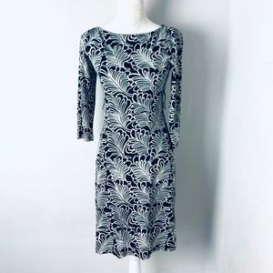 ABS collection leaf print dress lined petite sze 2